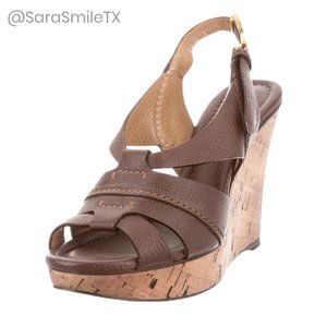 {CHLOÉ} Boho Brown Leather Cork Wedge Sandals